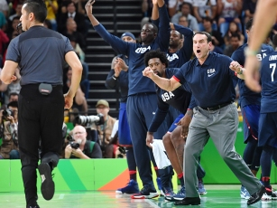 RIO DE JANEIRO, BRAZIL - AUGUST 21: Head coach Mike Krzyzewski and the USA Basketball Men's National Team celebrate against Serbia during the Gold Medal Game on Day 16 of the Rio 2016 Olympic Games at Carioca Arena 1 on August 21, 2016 in Rio de Janeiro, Brazil. NOTE TO USER: User expressly acknowledges and agrees that, by downloading and/or using this Photograph, user is consenting to the terms and conditions of the Getty Images License Agreement. Mandatory Copyright Notice: Copyright 2016 NBAE (Photo by Jesse D. Garrabrant/NBAE via Getty Images)